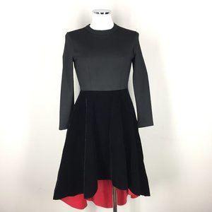 Boutique S Black red Velvet Midi Dress high low